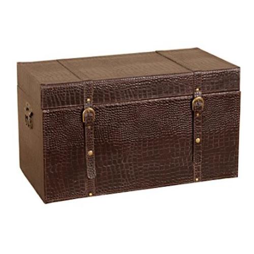 Baúl madera polipiel marrón