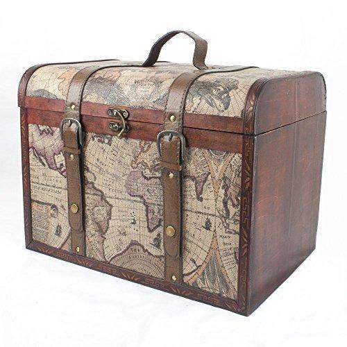 Baúl de madera diseño Mapas