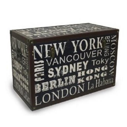 Baúl de madera diseño Ciudades